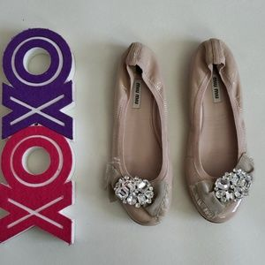 MIU MIU nude flats with crystals & bow